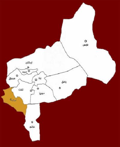 تقسيمات كشوري استان يزد سال 84. جانمايي شهرستان ابركوه در آن